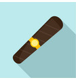 black cigar of cuba icon flat style vector image vector image