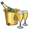 champagne bottle in bucket vector image vector image
