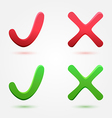 Check and cross mark or symbol vector image