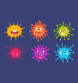 cute cartoon viruses bacteria emotional faces vector image