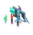 designer creating design layout together vector image vector image