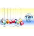 easter eggs on yellow blue background vector image vector image