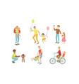 fathers and their kids having good time together vector image vector image