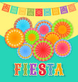 fiesta postcard paper fans lace decorative text vector image vector image