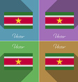 Flags Suridame Set of colors flat design and long vector image