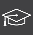 graduation cap line icon education and knowledge vector image