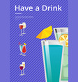 have a drink mojito and mint cocktail summer party vector image
