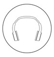 headphones the black color icon in circle or round vector image vector image