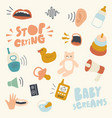icons set child themed background with baby vector image