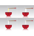 japanese hot noodle soup with red bowl vector image