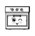 line kawaii cute funny oven technology vector image