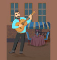man with guitar stands near the restaurant and vector image