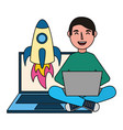 man with laptop rocket vector image vector image