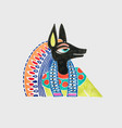 marker sketch drawing egyptian god anubis vector image vector image