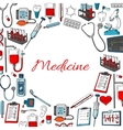 Medicine poster of medical items vector image vector image
