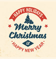 merry christmas and happy new year retro template vector image vector image