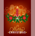 merry christmas greeting card spruce branch candle vector image vector image