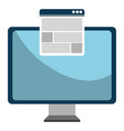 monitor computer with template webpage vector image vector image