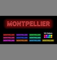 neon name of montpellier city vector image vector image