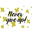 never give up inscription greeting card vector image