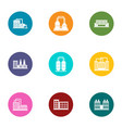 pipe factory icons set flat style vector image vector image