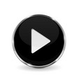 play button black 3d icon with chrome frame vector image