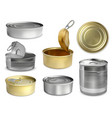 preserve tin realistic set vector image vector image