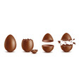 realistic chocolate eggs broken halves and whole vector image vector image