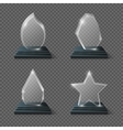 Realistic crystal trophy glass awards set vector image vector image