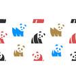 seamless pattern with panda logo vector image vector image