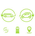 set icons electric car electric vehicle vector image vector image