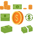 set money icons coins and paper money vector image vector image