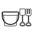 silhouette bucket and shovel toy flat icon vector image