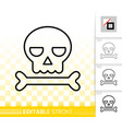 skull simple black line halloween sign icon vector image