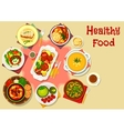 Soup and meat dishes icon for lunch menu design vector image vector image
