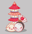 sushi cute kawaii cartoon vector image vector image