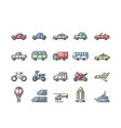 transportation outline color icons set vector image