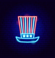 usa uncle sam hat neon sign vector image vector image