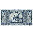 viking design drakkar sailing in a stormy sea vector image vector image