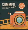 vintage card summer movie festival film camera vector image