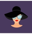 Woman in black hat and sun glasses Avatar people vector image vector image