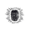 wood barrel in linocut style vector image