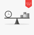 Clock and coins on seesaw icon time is money vector image