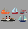 set of cartoon ships a collection of old vector image