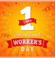 1 may international workers day banner vector image
