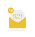 40 years anniversary icon in golden letter vector image vector image