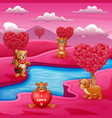 a group of bears on the river bank with pink scene vector image vector image