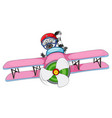 a raccoon riding airplane vector image vector image