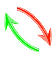 arrows red and green 3d arrows in circular motion vector image vector image