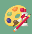 art color palette with paints pen and brush vector image